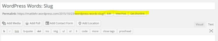 This is a screenshot from WordPress featuring where to change the slug.